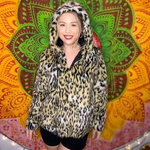 NWT Cheetah and Leopard faux fur coat